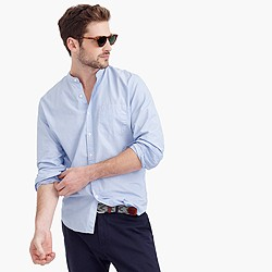 Secret Wash band-collar shirt in end-on-end cotton