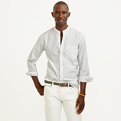 Secret Wash band-collar shirt in striped end-on-end cotton