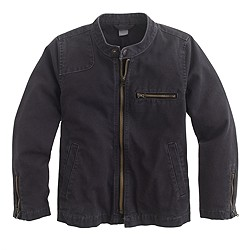 Boys' cotton canvas motorcycle jacket
