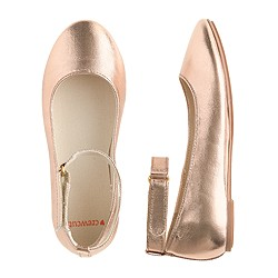 Girls' metallic ankle-strap ballet flats