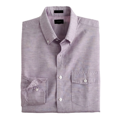 Slim Irish cotton-linen shirt in solid