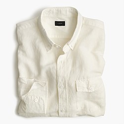Tall Irish cotton-linen shirt in solid