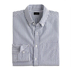 Slim seersucker shirt in red stripe