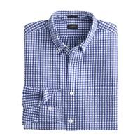 Slim seersucker shirt in estate blue gingham
