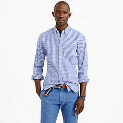 Slim seersucker shirt in estate blue gingham