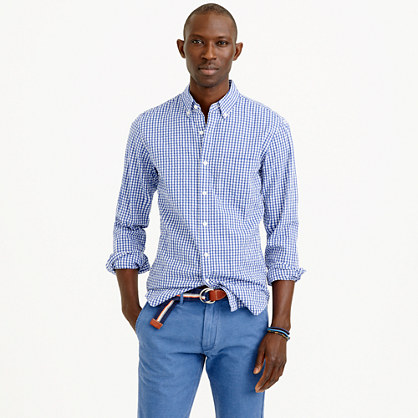 Slim seersucker shirt in estate blue gingham seersucker for Mens seersucker shirts on sale