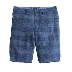 "10.5"" club short in checkered linen"