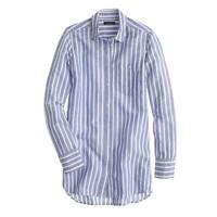 Petite long cotton-linen boy shirt in stripe