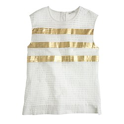 Collection pleated shell in metallic stripe