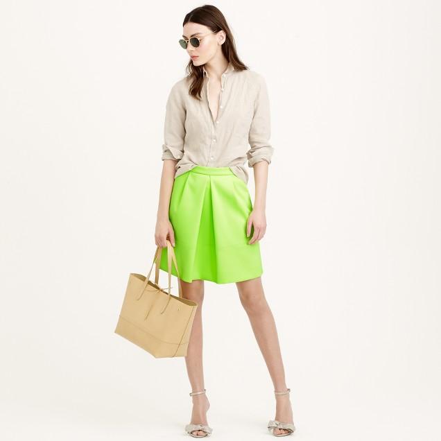Pleat-front mini skirt