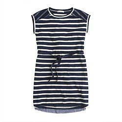 Girls' colorblock-striped tulle dress