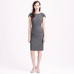 Petal-sleeve dress in Italian stretch wool