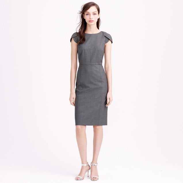 Tall petal-sleeve dress in Italian stretch wool