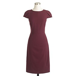 Petal-sleeve dress in Italian stretch wool