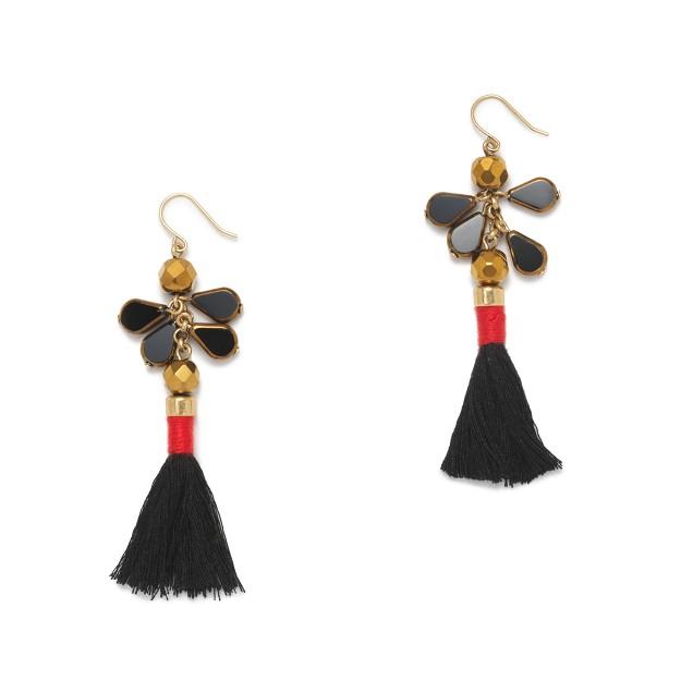 Two-tone tassel earrings