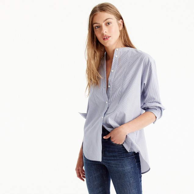 Thomas Mason® for J.Crew collarless tuxedo shirt in stripe