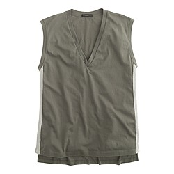 Metallic side-stripe V-neck tank top