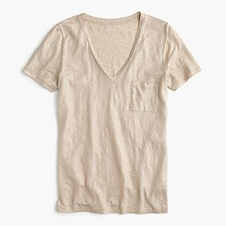 Linen V-neck pocket T-shirt in metallic