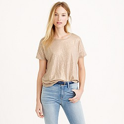 Linen boyfriend T-shirt in metallic