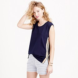 Metallic side-stripe tank top