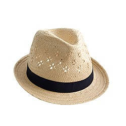 Girls' straw eyelet hat