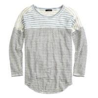 Linen baseball T-shirt in mixed stripe