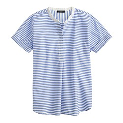Collarless short-sleeve popover shirt in stripe