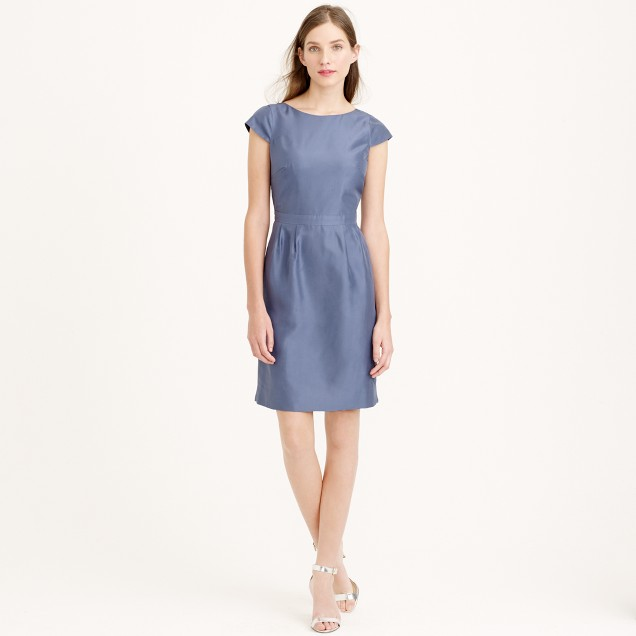 Petite Tessa dress in slub silk