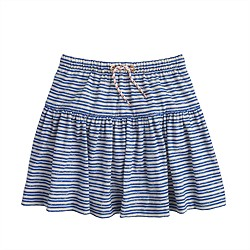 Girls' striped drawstring skirt