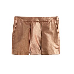 Metallic linen crossover short