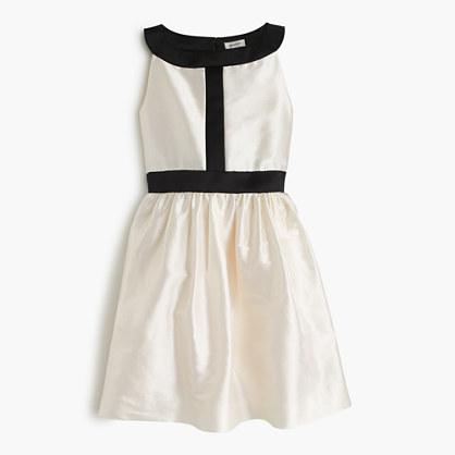 Girls' two-tone dress in silk dupioni