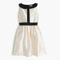 Girls' two-tone dress in silk dupioni