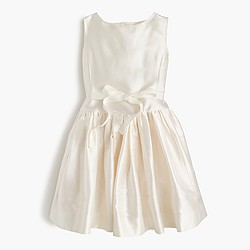 Girls' bow dress in silk dupioni