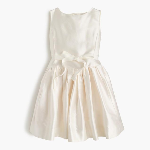 Girls' bow dress in silk dupioni