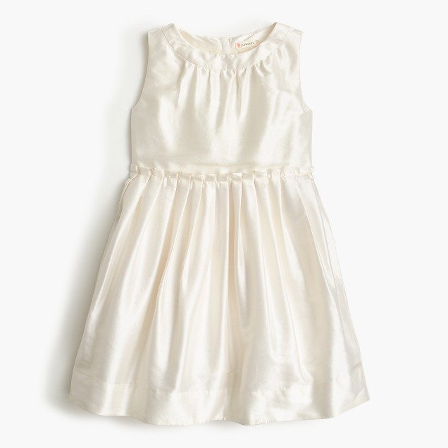Girls' pleated dress in silk dupioni