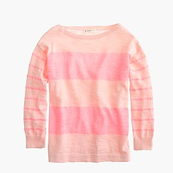 Girls' sweater in petal double stripe