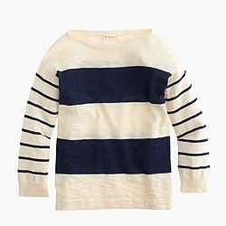 Girls' sweater in navy double stripe