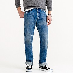 Chimala® Cone Denim selvedge jean in light repair wash