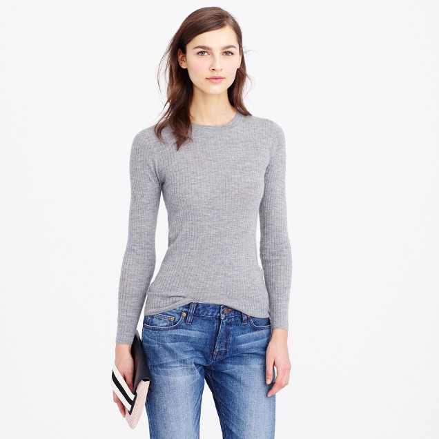 Italian featherweight cashmere three-quarter sleeve ribbed T-shirt
