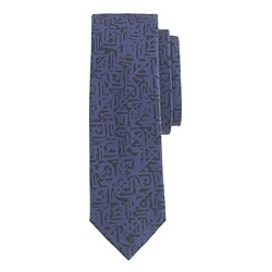 Italian cotton tie in geometric print