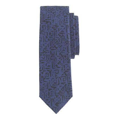 Italian cotton tie in geometric print
