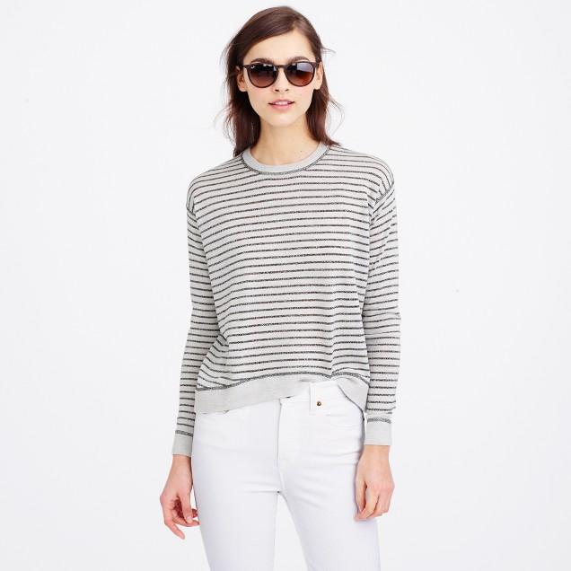 Merino wool metallic-striped sweater