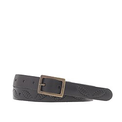 Perforated-stitch leather belt