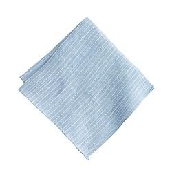 Irish linen pocket square in pinstripe