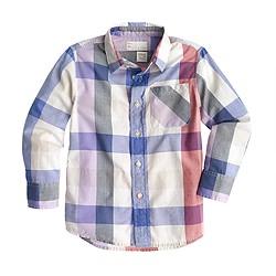 Boys' Indian cotton shirt in jumbo tattersall