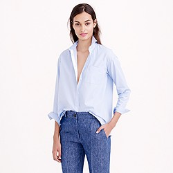 Petite thin stripe cropped button-down shirt