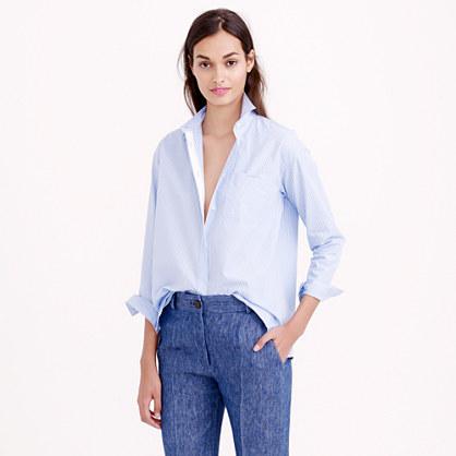 Petite thin stripe cropped button-down shirt