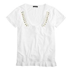 Beaded V-neck T-shirt