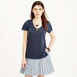 Side-slit scoopneck T-shirt
