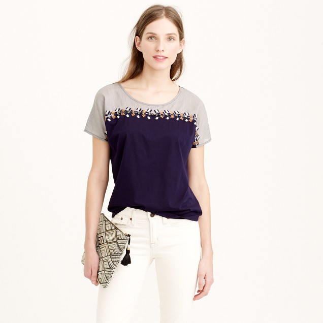 Embroidered colorblock T-shirt